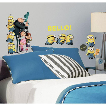 DESPICABLE ME 2 MOVIE 31 WALL DECALS Gru & Minions Peel & Stick Stickers Kids Room Decor - EonShoppee