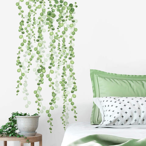 STRING OF PEARLS HANGING VINES & Leaves2 large Wall Decals MURAL Home Decor Stickers - EonShoppee