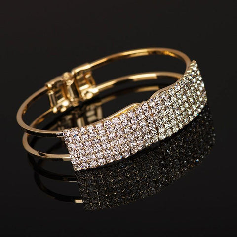 Lustrous Rhinestone Crystal Gold Plated Mid Open Shining Cuff Bangle Bracelet Dress Fashion Jewelry - EonShoppee
