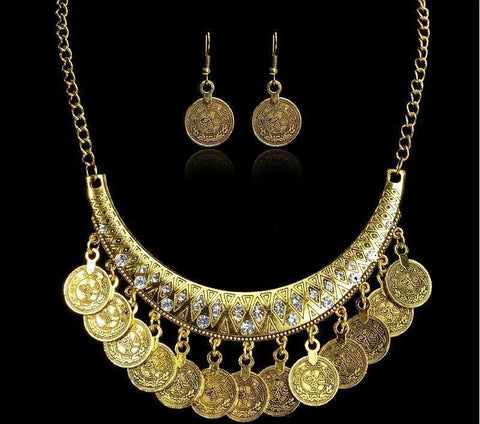 Ethnic & Elegant Choker Style Women Vintage Coin Maxi Statement Necklace and Earrings Fashion Jewelry Set