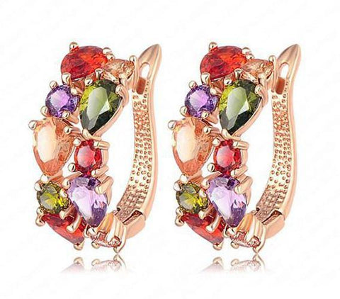 Lovely Gold Plated Swiss Zircon Party wear Multi Color Crystal Fashion Jewelry Dress Earrings - EonShoppee