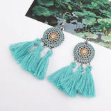 Lovely Flower Fringe Tassel Drop Dangle Earrings Modern Charm Fashion Jewelry - Pink, Yellow, Red, Blue Colors