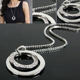 Pretty Women Fashion Crystal Rhinestone Silver Plated Long Chain Pendant Necklace Gift