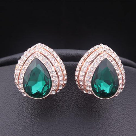 Pretty Emerald Green Rose Gold Plated big Rhinestone Crystal Women Party wear Fashion Jewelry Stud Earrings - EonShoppee