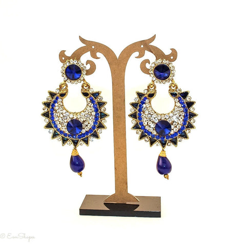 Stunning Royal Blue Indian Ethnic Bollywood Style Fashion Jewelry Drop Dangle Earrings - EonShoppee