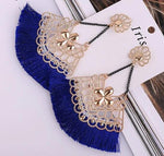 Geometric Royal Blue Long Tassel Earrings with Chain - Chandelier Style Lovely Drop Dangle Earrings - EonShoppee