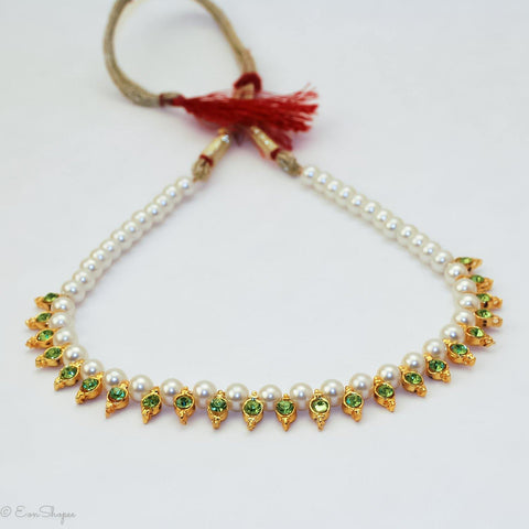 Gorgeous Light Green Gold Plated Traditional Indian Style Fashion Jewelry Choker Pearl Necklace - EonShoppee