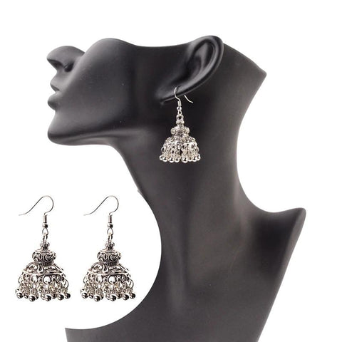 Antique Style Ethnic Indian Sliver Hollow Flower Jhumki Drop Dangle Earrings Fashion Jewelry - EonShoppee