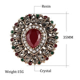Retro Look Red Stone Big Heart Multi Color Gold Mosaic Indian Fashion Jewelry Ring - Size 7