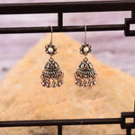 Antique Indian Style Golden Hollow White Flower Jhumki Drop Dangle Earrings - Hot Fashion Jewelry - EonShoppee