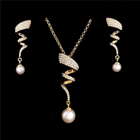 Jazzy Gold Plated Inlaid with Rhinestones & Imitation Pearl Pendant Necklace Earrings - Trendy Fashion Jewelry Set - EonShoppee