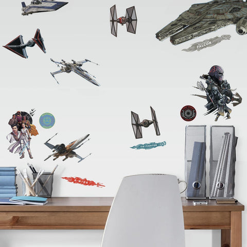Star Wars Episode IX Galactic Ships Peel & Stick Wall Decals Room Decor Stickers - EonShoppee