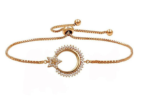 Designer Rose Gold Plated Circle & Star Cubic Zirconia Crystal Pull String Adjustable Chain Bracelet Wedding Fashion Jewelry