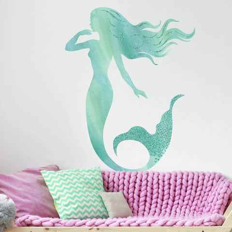 Glitter Mermaid Peel & Stick Giant 29 Wall Decals Glittery Mermaid Stickers- Assembled size 27. 47 inches x 35. 27 inches - EonShoppee