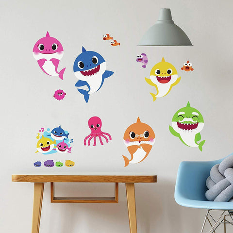 Roommates Baby Shark Peel & Stick Wall Decals 39 Characters Room Decor Stickers