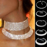 Super Luxurious Shining Silver Rhinestone Crystal Wedding Collar Chain Statement Bling Bib 4 Row Necklace - EonShoppee