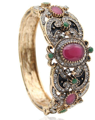 Pretty Classic Rhinestone Red Green Crystal Round Resin Bangle Antique Fashion Jewelry Cuff Bracelet - EonShoppee
