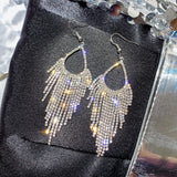 Stylish Long Studded Silver Tassel Drop Dangle Statement Fashion Jewelry Earrings - EonShoppee