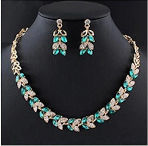 Graceful Gold Plated Green Glass Crystal Necklace & Earrings Wedding Fashion Jewelry Set