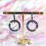 Pretty Double Round Circle Drop Dangle Full Blue Rhinestone Crystal Geometric Party wear Fashion Jewelry Earrings