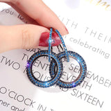 Pretty Double Round Circle Drop Dangle Full Blue Rhinestone Crystal Geometric Party wear Fashion Jewelry Earrings - EonShoppee