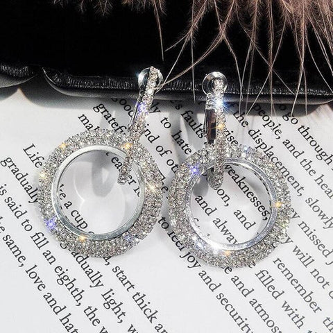 Shinning  Silver Round Crystal Drop Earrings Circle Rhinestone Dangle Earrings Wedding Party Statement Jewelry - EonShoppee