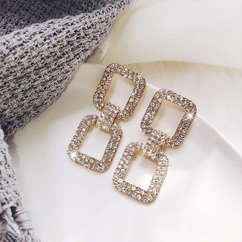 Luxurious Shiny Gold Rhinestone Crystal Double Square Loop Wedding Party Fashion Jewelry Statement Earrings For Women - EonShoppee