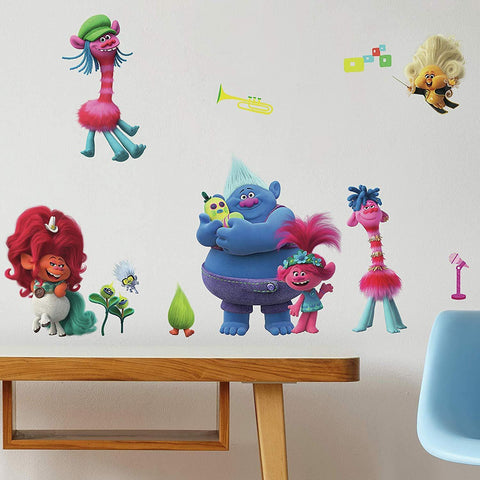 New Trolls World Tour Peel and Stick 24 Wall Decals Fun Colorful Girls Room Decor Stickers
