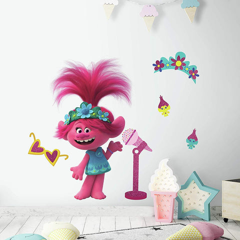 New Trolls World Tour Poppy with Glitter Peel and Stick Giant Wall Decals - Assembled size 17. 49 inches x 28. 29 inches - EonShoppee