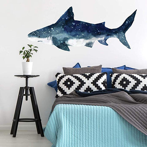 Watercolor Shark Peel And Stick Giant Wall Decals - EonShoppee