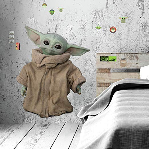 Star Wars The Mandalorian: The Child Peel & Stick Giant Wall Decals - Removable Kids Room Decor Baby Yoda Stickers - EonShoppee