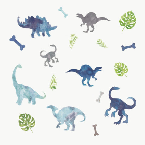 Watercolor Dinosaur Peel and Stick 18 Removable Wall Decals Kids Room, Nursery Decor Jurassic Stickers
