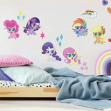 My Little Pony Let's Get Magical Peel and Stick 25 Removable Wall Decals - Pinkie Pie, Twilight Sparkle, Rarity Decor Stickers - EonShoppee