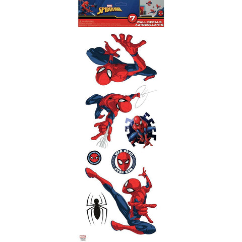 Classic Spiderman Peel & Stick Wall Decals 7 Marvel Room Decor Stickers - EonShoppee
