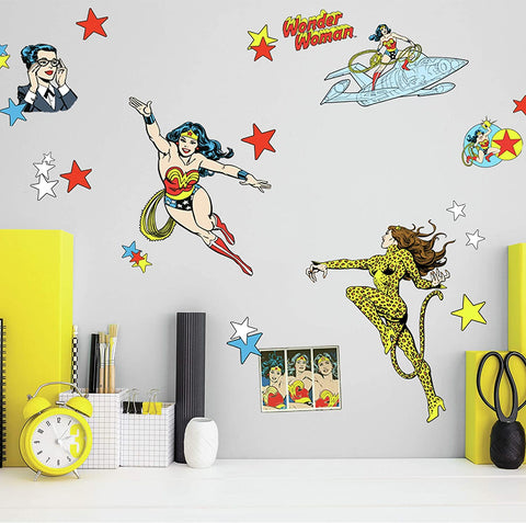 Wonder Woman Cartoon Peel and Stick Wall Decals - EonShoppee