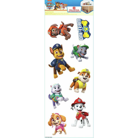 PAW PATROL Wall Decals Ryder Chase Marshall Rubble Rocky Zuma Skye 8 Kids Room Stickers