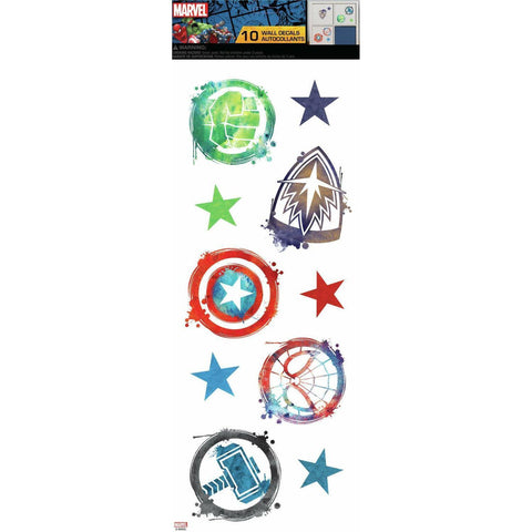 MARVEL ICONS 10 Wall Decals Captain America Hulk Spiderman Thor Superhero Stickers