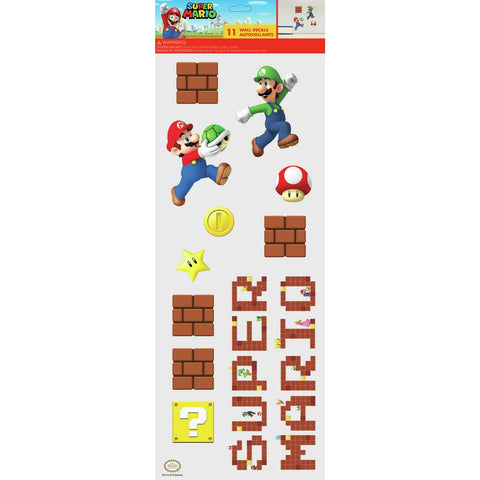 Super Mario 11 Peel & Stick Wall Decals Kids Room Decor Mario Stickers