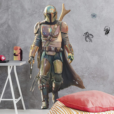 "Star Wars The Mandalorian Peel and Stick Giant Wall Decals 14 Kids Room Stickers - 33"" Tall"