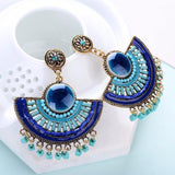 Lovely Royal Blue Big Beads Tassel Pendant Drop Dangle Fashion Jewelry Earrings