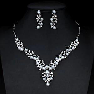 Gorgeous Pearl Crystal Necklace Earrings Party Wear Jewelry Set For Women