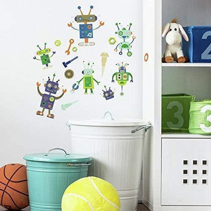 Robots Peel And Stick Wall Decals 33 Fun Boys Bed Room Play room Stickers - EonShoppee