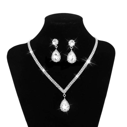 Elegant Silver Plated Water Drop Rhinestone Long Pendant Full Crystal Necklace & Earrings Jewelry Set - EonShoppee