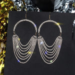 Long Tassel Rhinestone Crystal Drop Dangle Earrings Exaggerated Gold Color Earrings - Fashion Party Wear Jewelry - EonShoppee