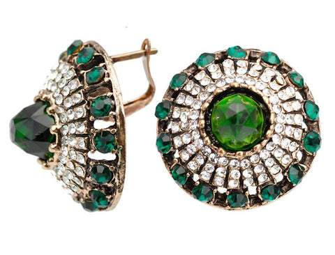 Designer Vintage Style Round Green Natural Stone Round Stud Earrings Fashion Jewelry For Women