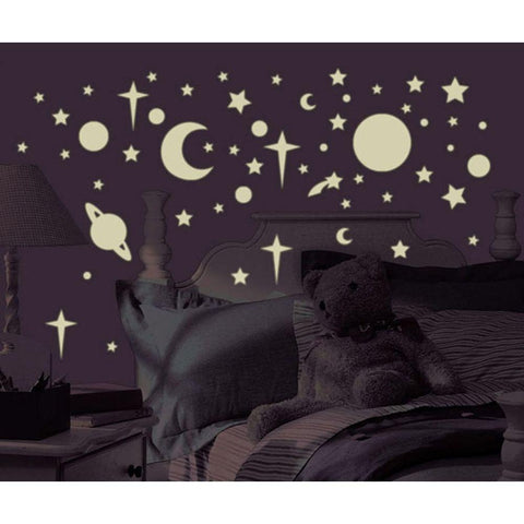 Celestial Stars And Planets Glow In The Dark Wall Decals - EonShoppee