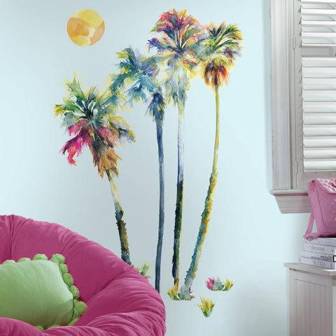 Watercolor Palm Tree Giant Peel & Stick Wall Decals Sun Beach Scene Home Decor Stickers by Roommates - EonShoppee