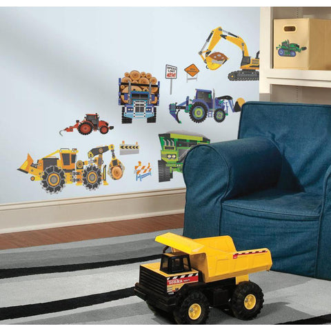 New Construction Vehicles Wall Decals Dump Truck Speed limit Transportation Stickers