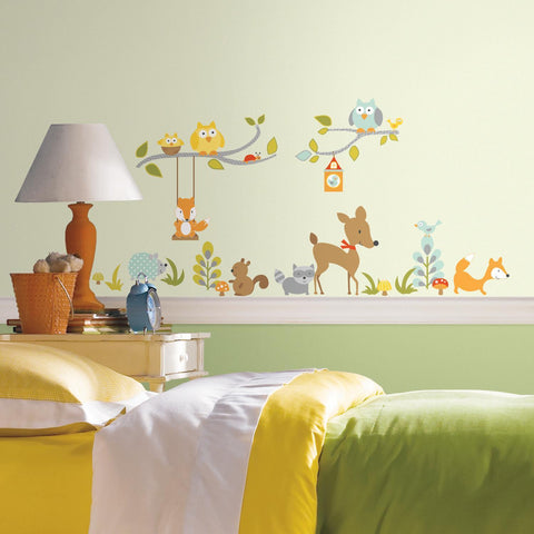 Woodland Fox & Friends Peel and Stick Wall Decals Kids Nursery Room - Tree Branches Owls Animals Decor