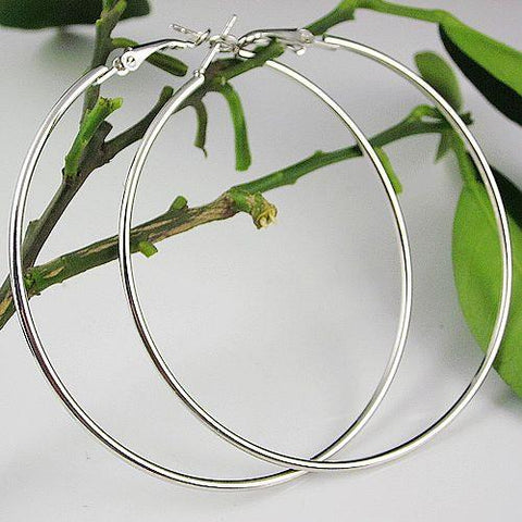 90 mm Sterling Silver Plated Women Fashion Jewelry Large Hoop Earrings - EonShoppee